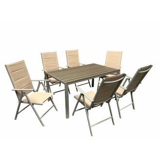 Zahradní nábytek - Zahradní nábytek Alu Roxas 6+1 Silver / Taupe - 2. jakost