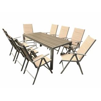 Zahradní nábytek - Zahradní nábytek Alu Roxas 8+1 Silver / Taupe - 2. jakost