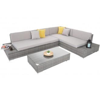 Zahradní nábytek - Rohová sedací souprava z technoratanu Panama Grey / Light Grey pravá