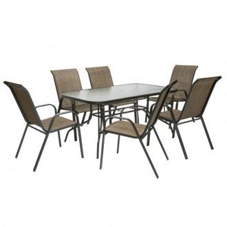 Zahradní nábytek - Zahradní nábytek BOHOL / Bologna Brown 6 + 1