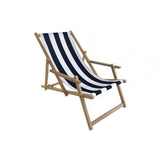 Zahradní nábytek - Zahradní lehátko klasik s područkou - modro bílé pruhy