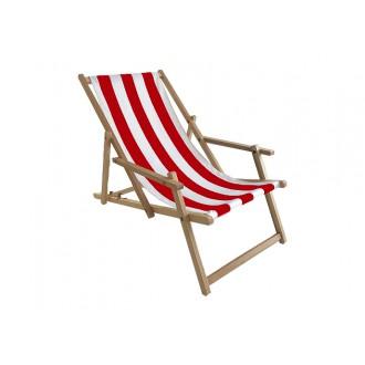 Zahradní nábytek - Zahradní lehátko klasik s područkou - červeno bílé pruhy