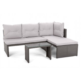 Zahradní nábytek - Rohová sedací souprava z technoratanu CORTE Grey