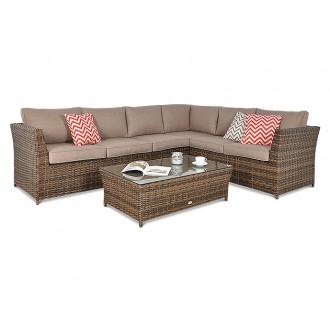 Zahradní nábytek - Rohová sedací souprava z technoratanu Moniz Caffe Brown
