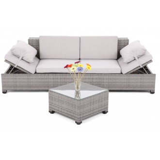 Zahradní nábytek - Sofa Milano 2 v 1 z technoratanu  Grey / Light Grey