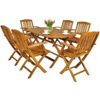 Zahradní nábytek - Zahradní nábytek z akátového dřeva 6+1 AK 130SS/521K