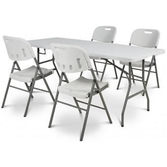 Zahradní nábytek - Cateringový stůl - skládací 180 cm + 4 x židle catering