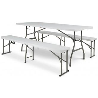 Zahradní nábytek - Cateringový stůl - skládací 180 cm + 2x lavička skládací 180cm
