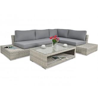 Zahradní nábytek - Rohový zahradní set VERONA Premium White Grey