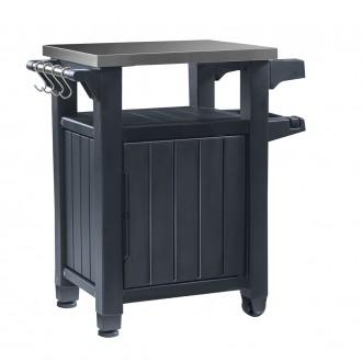 Zahradní nábytek - Multifunkční úložná skříňka a stolek Keter Unity Storage Buffet - Graphite