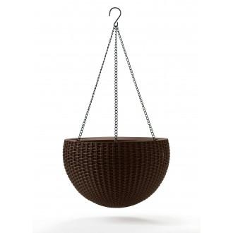 Květináče a truhlíky - Závěsný květináč KETER Hanging Sphere - Dark Brown