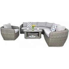 Rohový zahradní set ATENA CAFFE + křeslo Grey