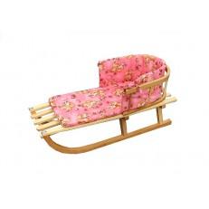 Dětské dřevěné sáňky s opěrkou + podložka růžová