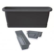 Truhlík se zavlažovacím systémem a držákem RESPANA EASYCARE 39,7 cm - antracit