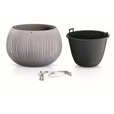 Květináč s vkladem a ocelovým lankem BETON BOWL WS 29 cm - šedý