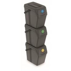 Sada 3 odpadkových košů SORTIBOX II, objem 3 x 25 L - šedý kámen