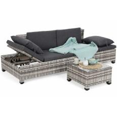 Sofa Milano 2 v 1 z technoratanu Light Grey/Grey Melange