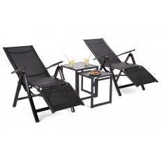 Zahradní set Cuba Black/Black  2x lehátko + 2x stolek