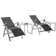 Zahradní set Cuba Silver / Black  2x lehátko + 2x stolek