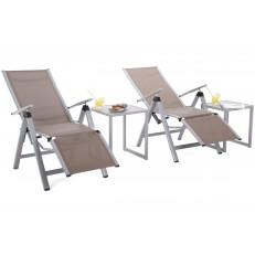 Zahradní set Cuba Silver / Taupe  2x lehátko + 2x stolek