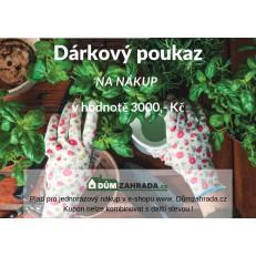 Dárkový poukaz Dumzahrada.cz na nákup v hodnotě 3000 Kč