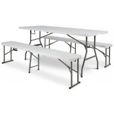 Cateringový stůl - skládací 180 cm + 2x lavička skládací 180cm