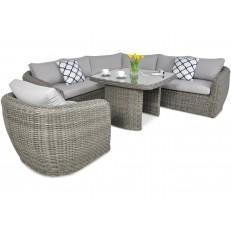 Rohový zahradní set ATENA DINING + křeslo Grey